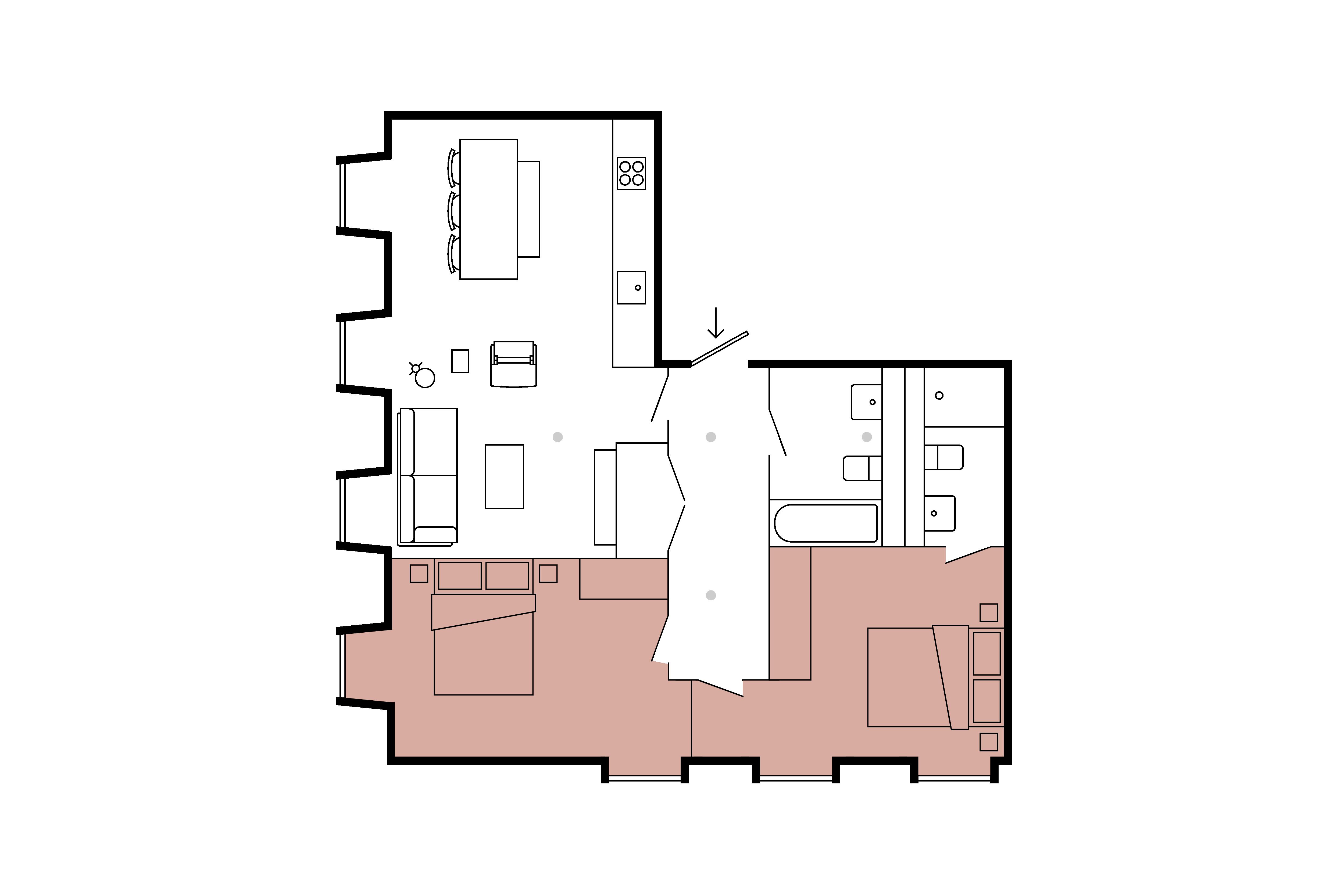 Floor plan for 2 Bed – Minto & Turner