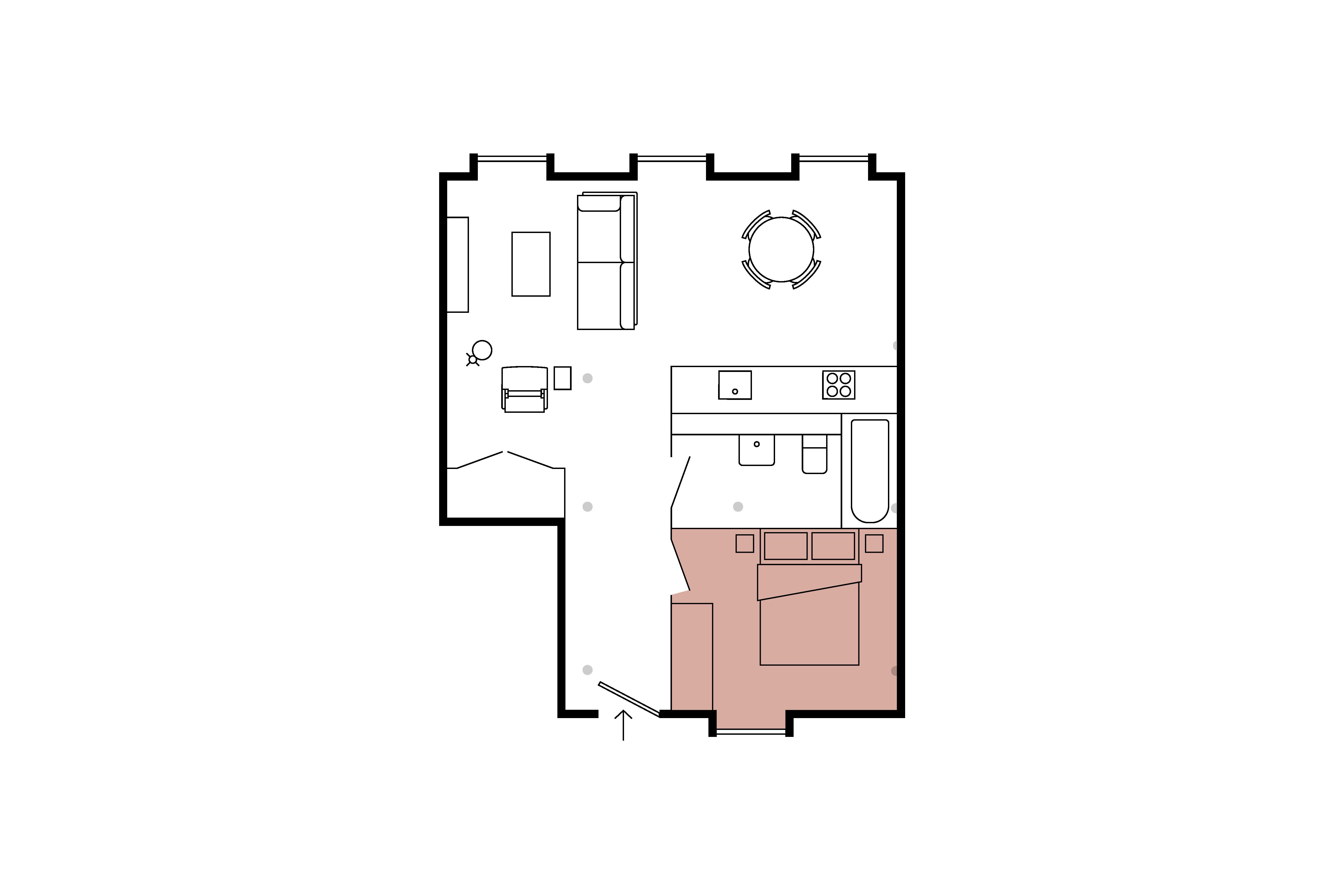 Floor plan for 1 Bed – Minto & Turner